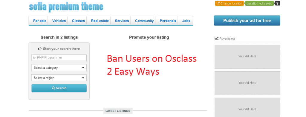 Ban users on Osclass