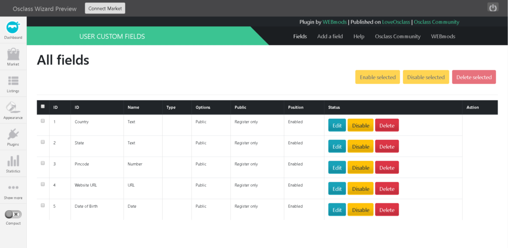 How to add custom fields in osclass registration form